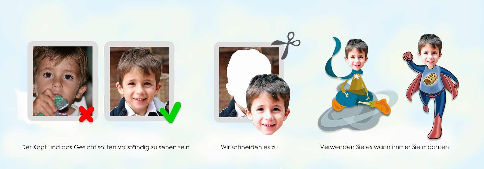 Fotoausschnitt für personalisierte Geschichten - Produkt- Kopfzeile